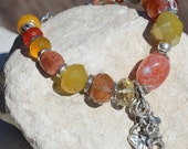 Handmade Artisan Sterling Silver and Multiple Gemstone Bracelet