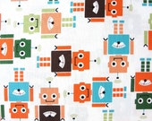 Robots in Park by Anne Kelle for Robert Kaufman Fabrics, Funbots Collection, 1 Yard