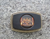 Leather Disc Buckle with Mason Symbol