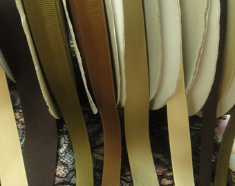 "22.5 yards from 3/8"" 5/8"" 7/8"" 1 1/2"" width The Brown family gross grain ribbon trim ( MADE IN U.S.A )"