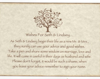 Wedding Wish Tree Tags Instruction Sign, Elegant Tree Wishes Sign - Rustic Vintage Style