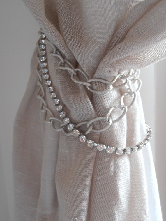Set Of 2 Decorative Curtain Tiebacks Silver Chains