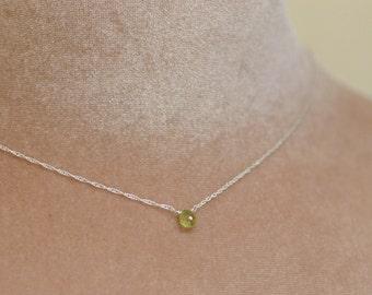 Tiny garnet necklace, January birthstone necklace, green garnet necklace, dainty necklace, tiny gemstone necklace - Natalie