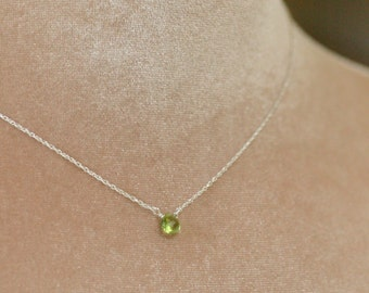Petite peridot necklace, August birthstone necklace, green necklace, dainty necklace, tiny necklace, solitaire necklace - Natalie