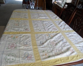 """Early 20th Century Yellow Bordered Embroidered Quilt 55"""" x 73"""""""