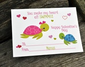 Kids Fish Valentine's Day Cards - Fish in the Sea Classroom Cards - Valentines Day Cards for Kids Set of 24 and 2 Teacher Cards
