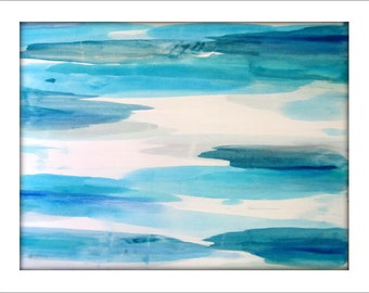 Large Abstract Painting on Canvas Contemporary/Modern Minimalist Painting  - 36x48  Blues, Grays, and more