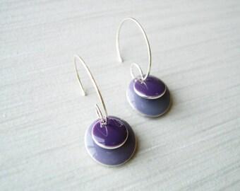 Simple Purple Earrings, Enamel Jewelry, Modern, Contemporary, Geometric, Silver Hoops, Lilac, Grape