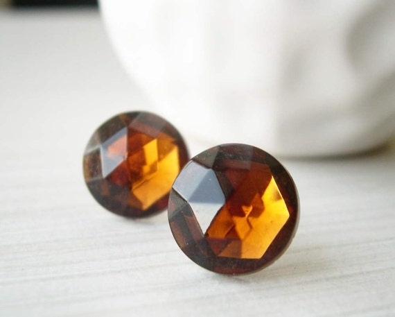 Brown Topaz Earrings, Nickel Free Jewelry, Titanium Posts, Vintage Glass Cabs, Studs, Fall, Autumn
