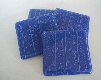 FUSED GLASS COASTERS - Blue Fused Glass Coaster Set of 4, Glass Coaster Set, Blue and White Coasters, Fused Glass Coaster Set, Glass Coaster