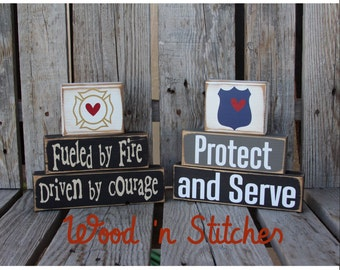 Firefighter Fireman police policeman wood block set Dad Grandpa  Fire Courage gift personalized kids room nursery decor