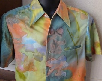 Vintage 1960s 1970s Polyester Hand Painted Swirl mens shirt