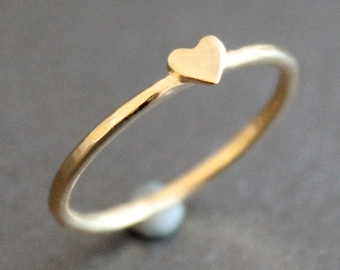 Heart Ring 14k Gold Vermeil Band with Small Heart - READY TO SHIP (Various Sizes)