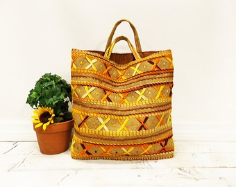 Vintage Ethnic Embroidered Burlap Beach and Travel Tote Bag-- Colorful Handstitched Gold and Orange Ethnic Pattern on Rustic Burlap