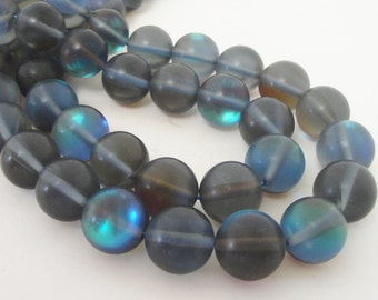 "Blue Moonstone Round Beads,  Blue Gray Glass Round Beads for Jewelry Beading, 10mm  Synthetic Moonstone Smooth Beads, 7.5"" Strand"