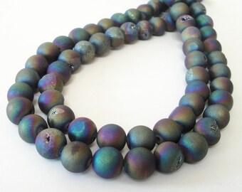 """Druzy Round Beads - Metallic Rainbow Drusy Beads - Pixie Blue Coating Matte - Semiprecious Round Ball - 8mm - 16"""" Strand - Jewelry Beading"""