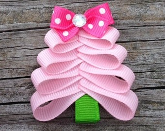 Pink Christmas Tree Hair Clip, Christmas Hair Clips, Toddler Hair Bows, Christmas Tree Ribbon Hair Clip, Girls Hair Accessories