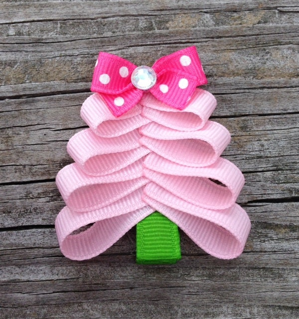 Pink Christmas Tree Hair Clip Christmas Hair Clips Toddler - Christmas Tree Hair Bows