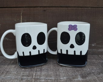 Til Death Do Us Part - His Skull Ceramic Cookies and Milk Dunk Mug - Ready to Ship