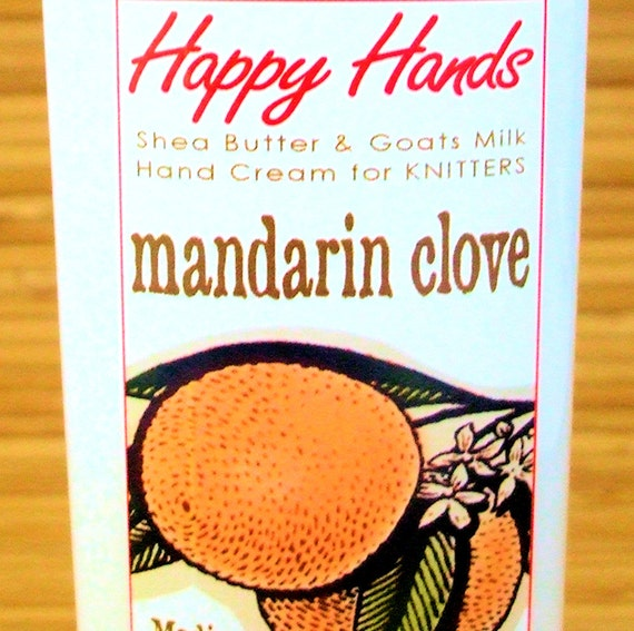 Mandarin Clove Scented Hand Cream for Knitters - 2oz Travel HAPPY HANDS Shea Butter Hand Lotion