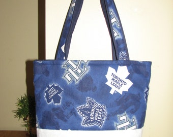 Classic Tote Bag - Large Quilted Handmade - Toronto Maple Leafs - Navy