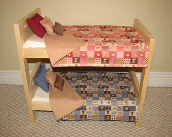 Bitty Twins Bedding - American Girl Doll Bunk Bed Bedding Set for Bitty Twins - Pink and Blue - Boy and Girl Bedding