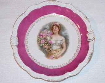 Antique German Porcelain Portrait Cabinet Plate with Victorian Lady  (1690)