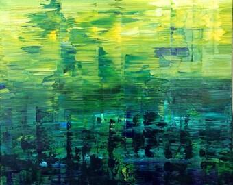 FREE SHIPPING in US. Oil impasto. Abstract Painting Urban Art Original, Blue Green Turquoise. Modern Original. Deep dark blues & greens.