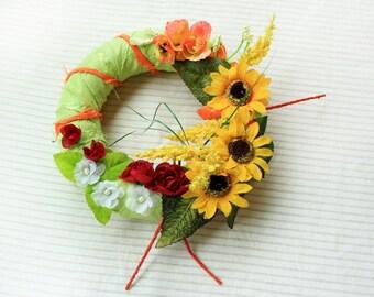 Front Door Wreath, Sunflowers Summer Flowers Wreath, Green Summer Wreath with Flowers, Summer Home Decor Wreath, Front Door Decoration