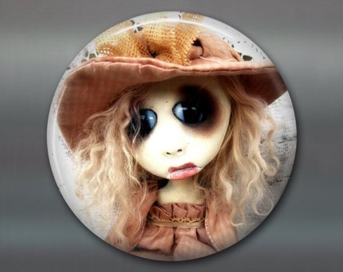 "3.5"" gothic doll fridge magnet, large magnet, kitchen decor, gothic art decor, stocking stuffer gift for her MA-AD60"