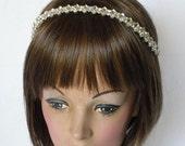 Rhinestone Headband Bridal Wedding Headpiece Ribbon Tie Necklace Belt Sash Handmade