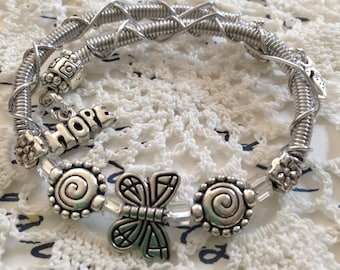 Butterfly Memory Wire Bracelet with Charms