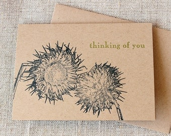 Letterpressed 'Thinking of You' Card