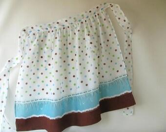 Vintage Apron, half apron, polka dot