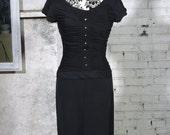 70% off 1960s Black Winnie Marsh Ruched Pencil Dress