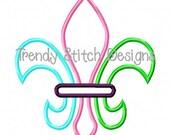 Fleur De Lis TRI Applique Machine Embroidery Design INSTANT DOWNLOAD