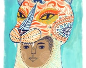 We Are All Wild On The Inside, girl face print, tiger, costume, hoodie, Sarah Walsh, tribal, wild animal