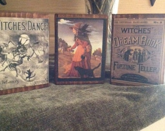 Set of 3 Primitive Halloween Wood Blocks featuring Witches Dance, Witches Dream Book & Vintage Witch  Statteam OFG HaFair