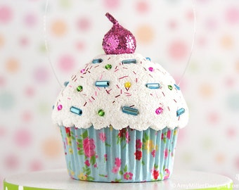 Cupcake Ornament - Light Blue Floral #CUP210