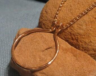 Circle Charm Holder Necklace Gold Fill Heavy Ring Holder Pendant  JJDLJewelryArt