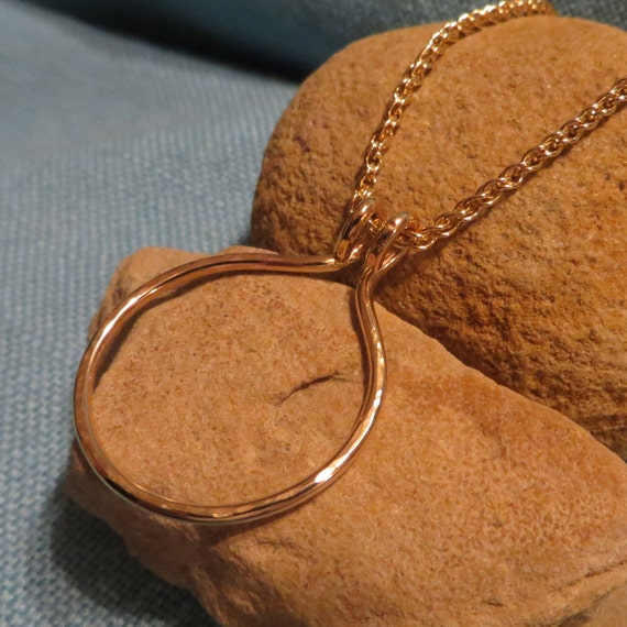 circle charm holder necklace gold fill heavy ring holder
