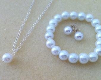 Flowergirl Necklace, Pearl Bracelet and Pearl Stud Jewelry Gift - Weddings, flower girl