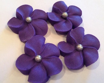 LOT of 100 royal Icing flowers dark purple and silver center