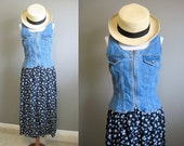 Denim and Floral Maxi Dress Vintage Combination 90s Grunge XS