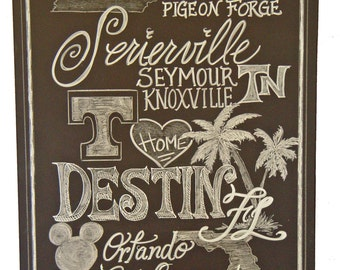 Chalkboard Art Sign Places we lived personalized Family
