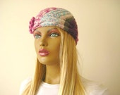 Winter Hat - Pink Hat, Beret - Pink, Blue, Burgundy, Green and Ivory Cable Beanie with Pink Flower - Gift for Her - Ready for Shipping