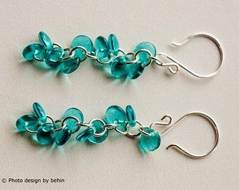 Blue Teal Beaded Lentil Cluster Sterling Silver Earrings, Bridesmaid Gift, Turquoise Blue Earrings