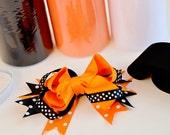 DIY TUTU KIT - Halloween, black, orange & white Tutu w/matching hair bow set