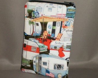 Camper - Eyeglass Sunglasses Case - Zipper Top - Cell Phone, Camera, iPod Bag - Padded Zipper Pouch - Vintage Campers - Glamping