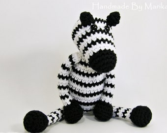 Crochet toy amigurumi animal zebra rattle - black and white - organic cotton